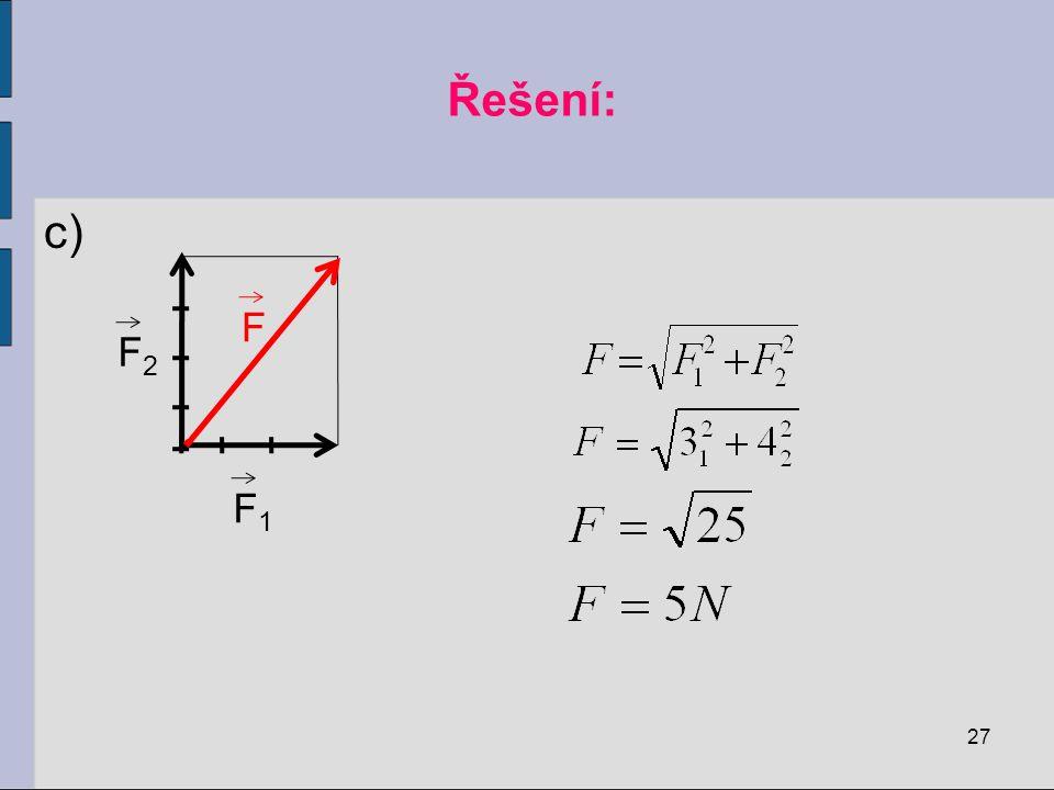 Řešení: c) F1 F2 F