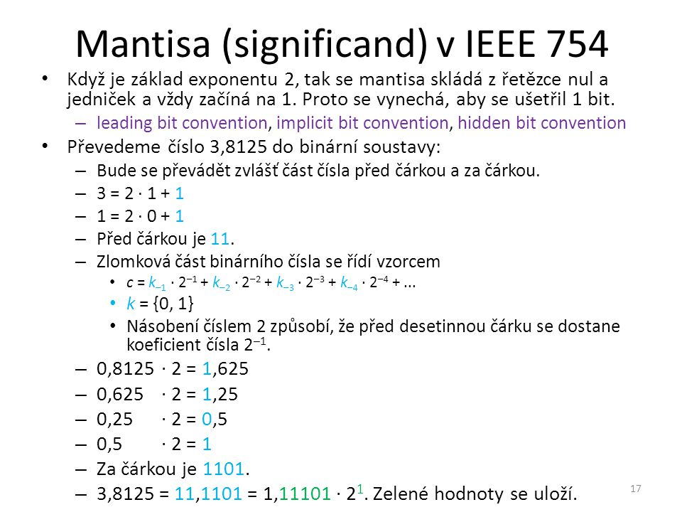 Mantisa (significand) v IEEE 754