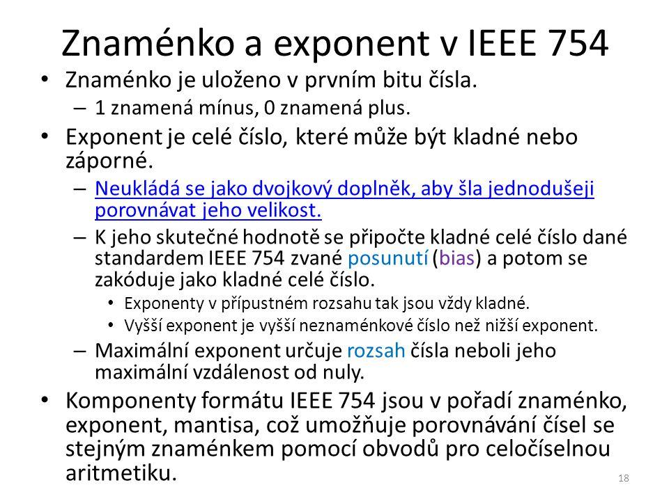 Znaménko a exponent v IEEE 754