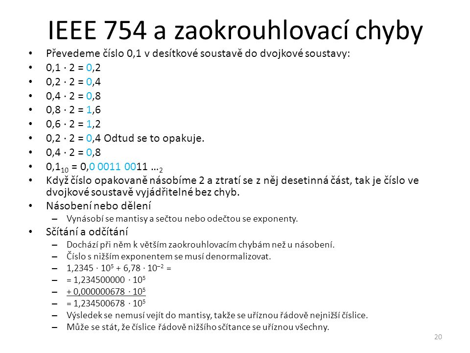 IEEE 754 a zaokrouhlovací chyby