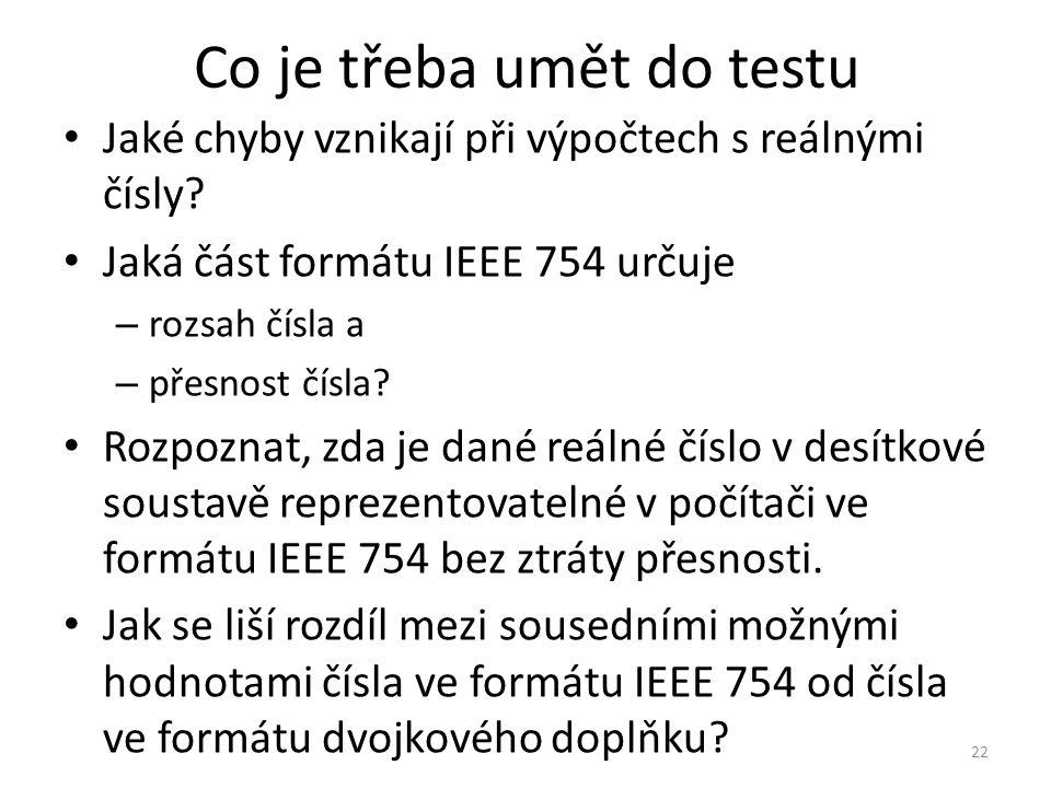Co je třeba umět do testu
