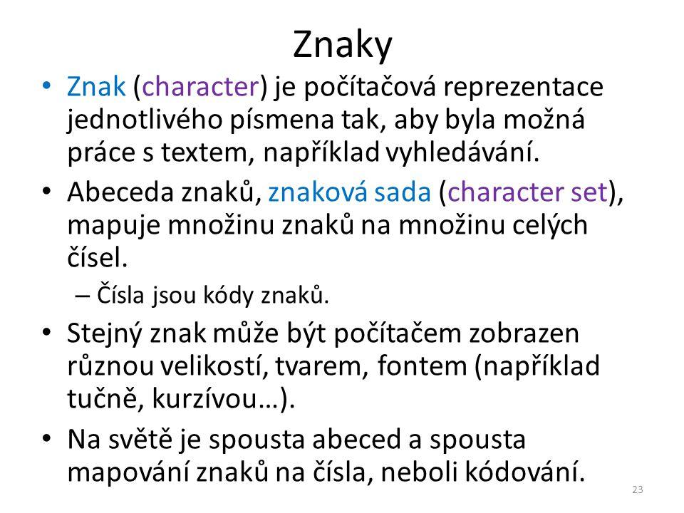 Znaky Znak (character) je počítačová reprezentace jednotlivého písmena tak, aby byla možná práce s textem, například vyhledávání.