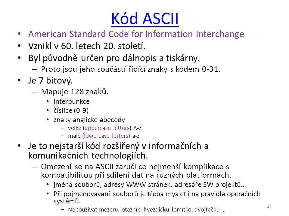 Kód ASCII American Standard Code for Information Interchange