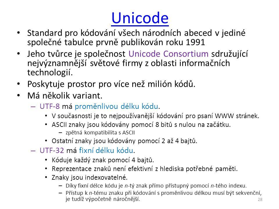 Unicode Standard pro kódování všech národních abeced v jediné společné tabulce prvně publikován roku 1991.