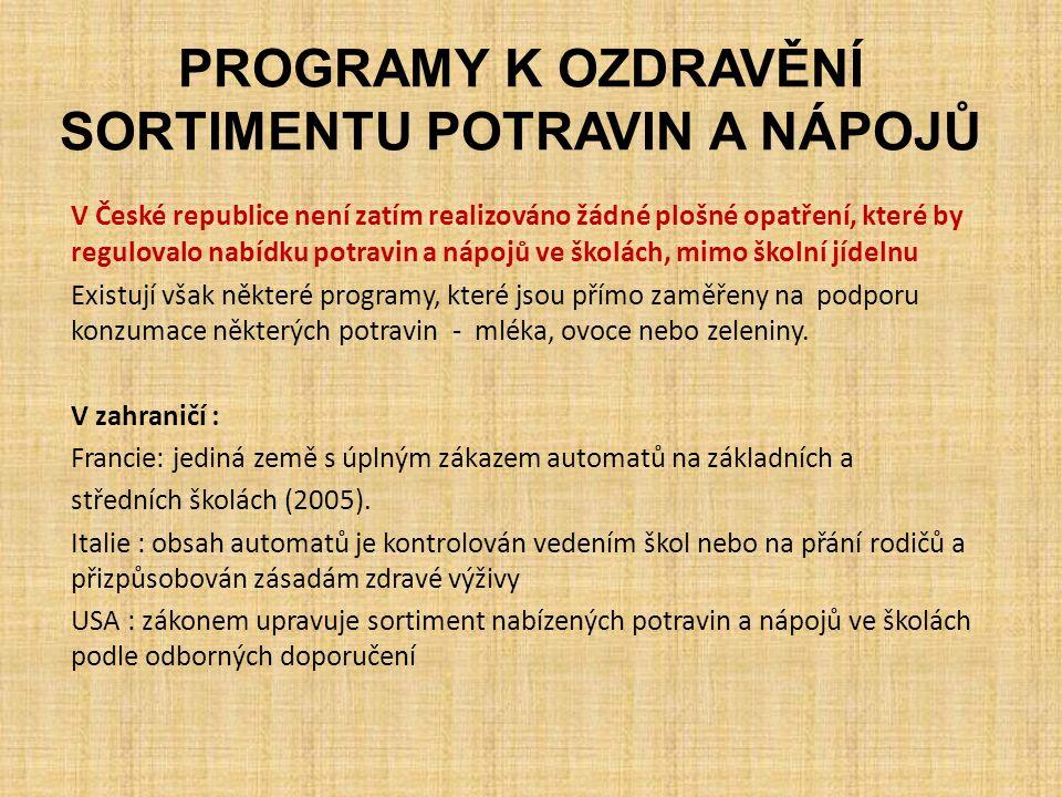 PROGRAMY K OZDRAVĚNÍ SORTIMENTU POTRAVIN A NÁPOJŮ