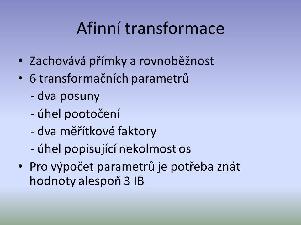 Afinní transformace Zachovává přímky a rovnoběžnost