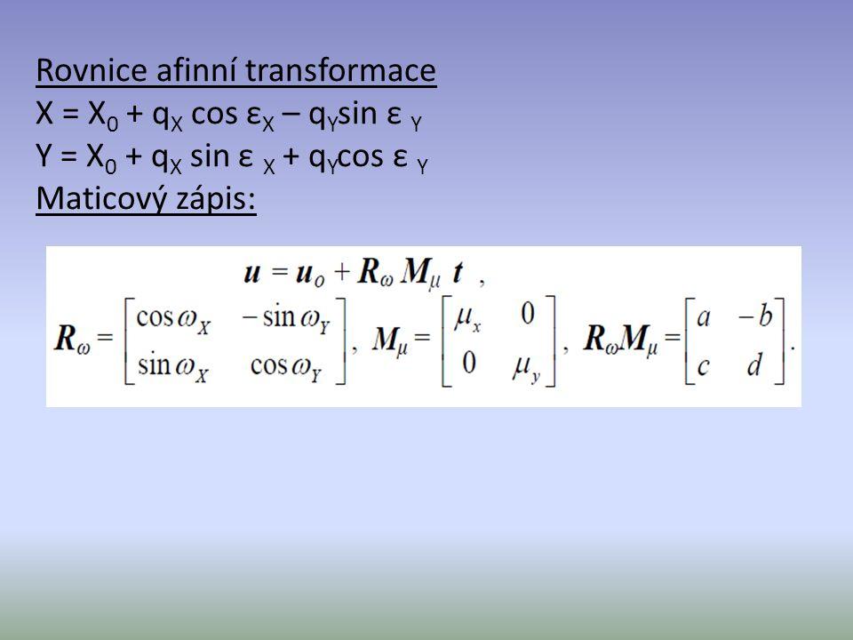 Rovnice afinní transformace X = X0 + qX cos εX – qYsin ε Y Y = X0 + qX sin ε X + qYcos ε Y Maticový zápis:
