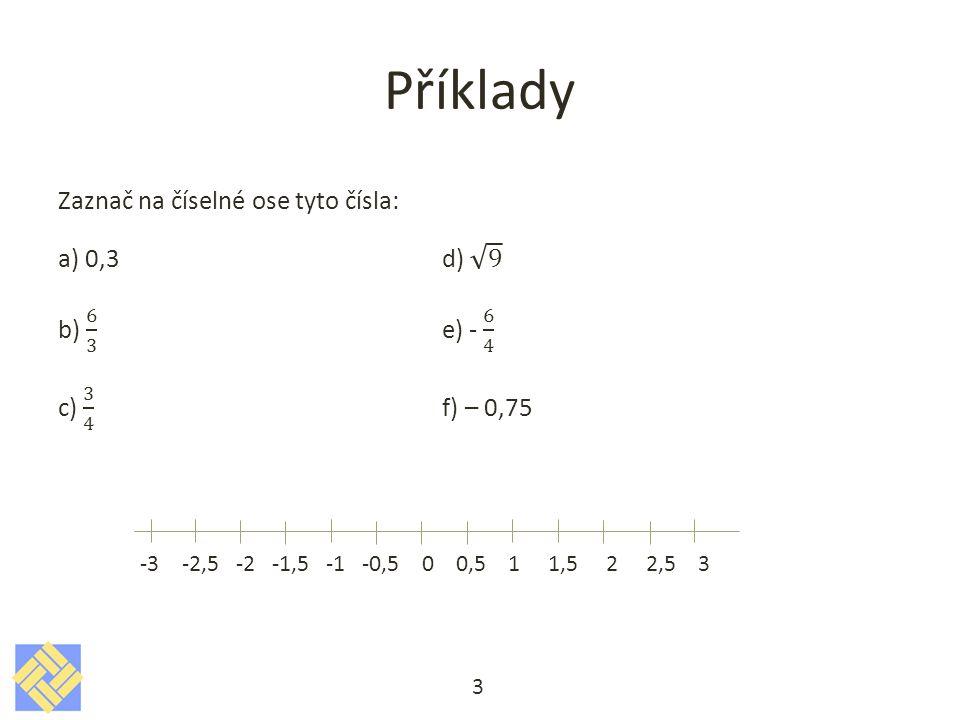 Příklady Zaznač na číselné ose tyto čísla: a) 0,3 d) 9 b) 6 3 e) - 6 4