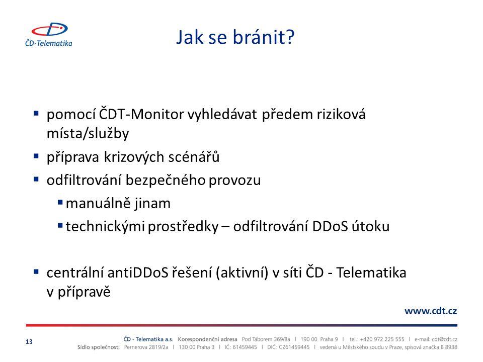 Jak se bránit pomocí ČDT-Monitor vyhledávat předem riziková místa/služby. příprava krizových scénářů.