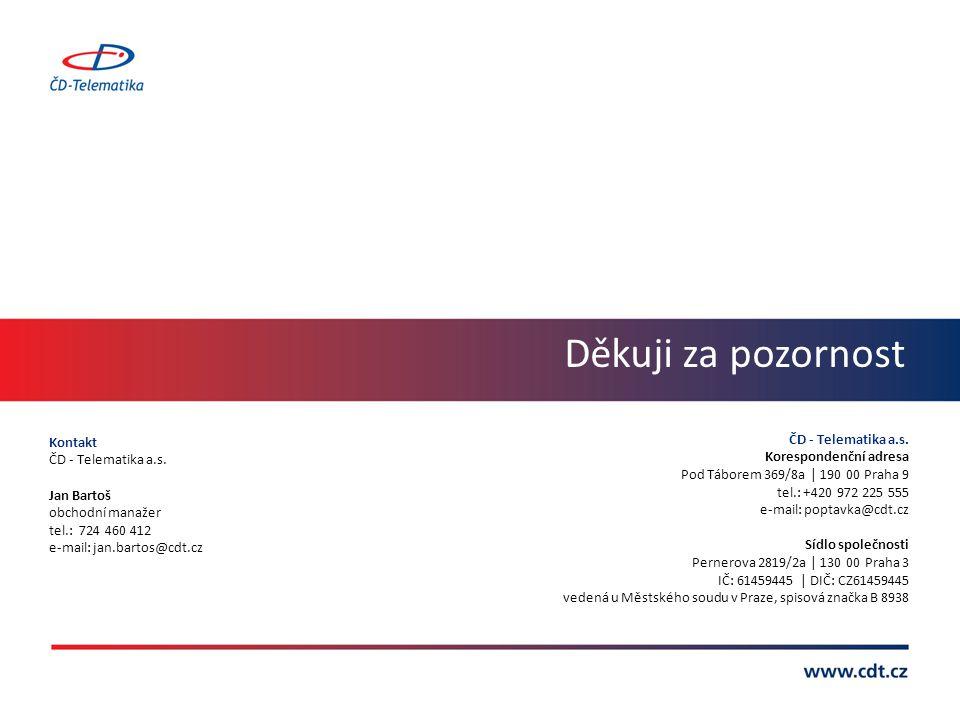 Děkuji za pozornost ČD - Telematika a.s. Kontakt ČD - Telematika a.s.