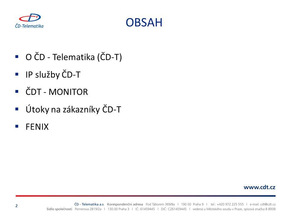 OBSAH O ČD - Telematika (ČD-T) IP služby ČD-T ČDT - MONITOR