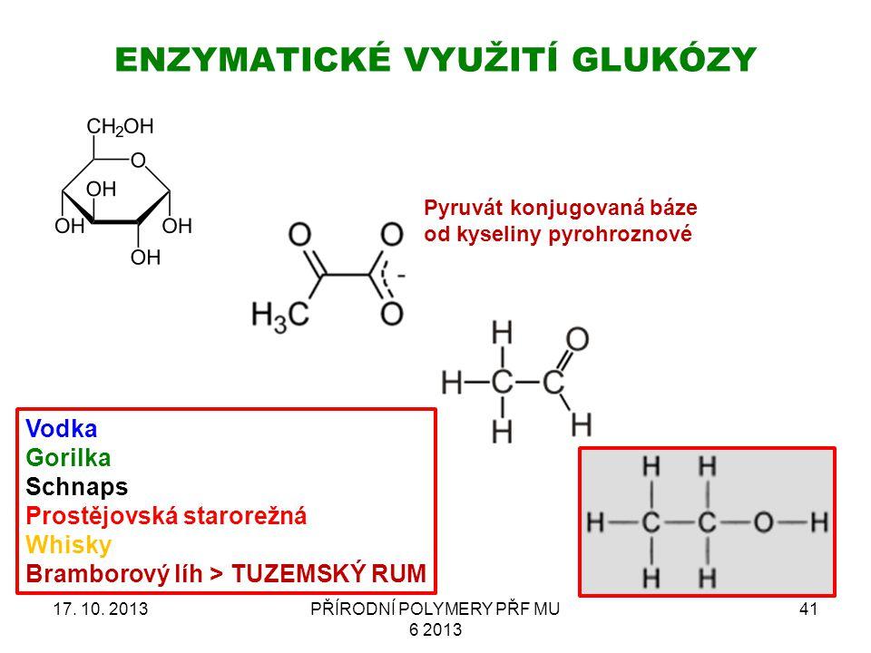 Enzymatické VYUŽITÍ GLUKÓZY