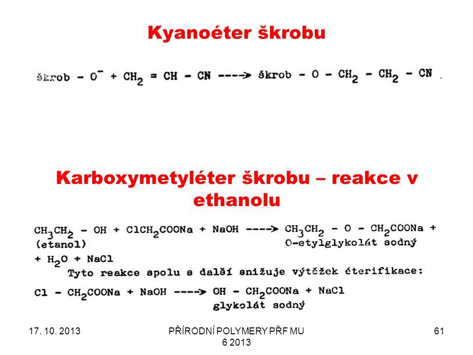 Karboxymetyléter škrobu – reakce v ethanolu