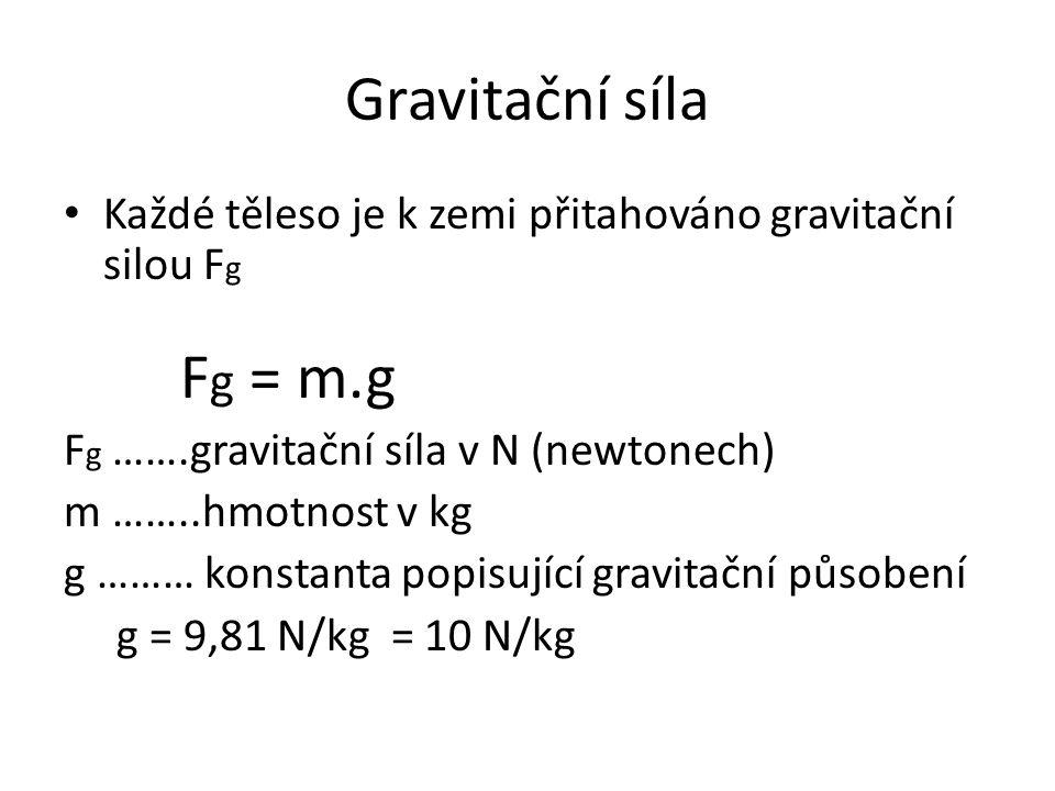 Gravitační síla Každé těleso je k zemi přitahováno gravitační silou Fg