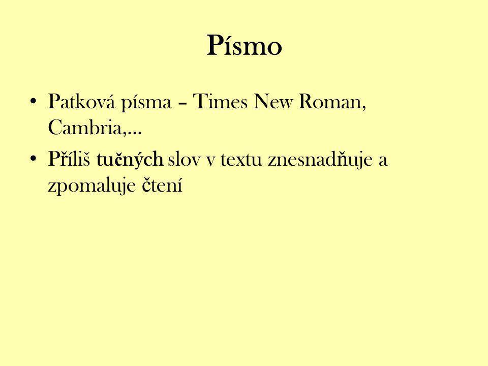 Písmo Patková písma – Times New Roman, Cambria,...