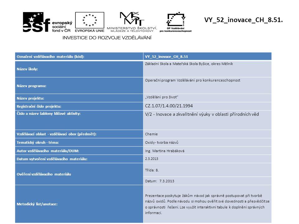 VY_52_inovace_CH_8.51. Označení vzdělávacího materiálu (kód): VY_52_inovace_CH_8.51. Název školy: