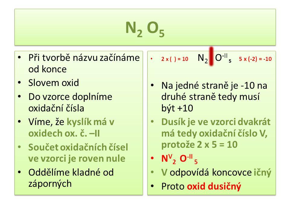 N2 O5 Při tvorbě názvu začínáme od konce Slovem oxid