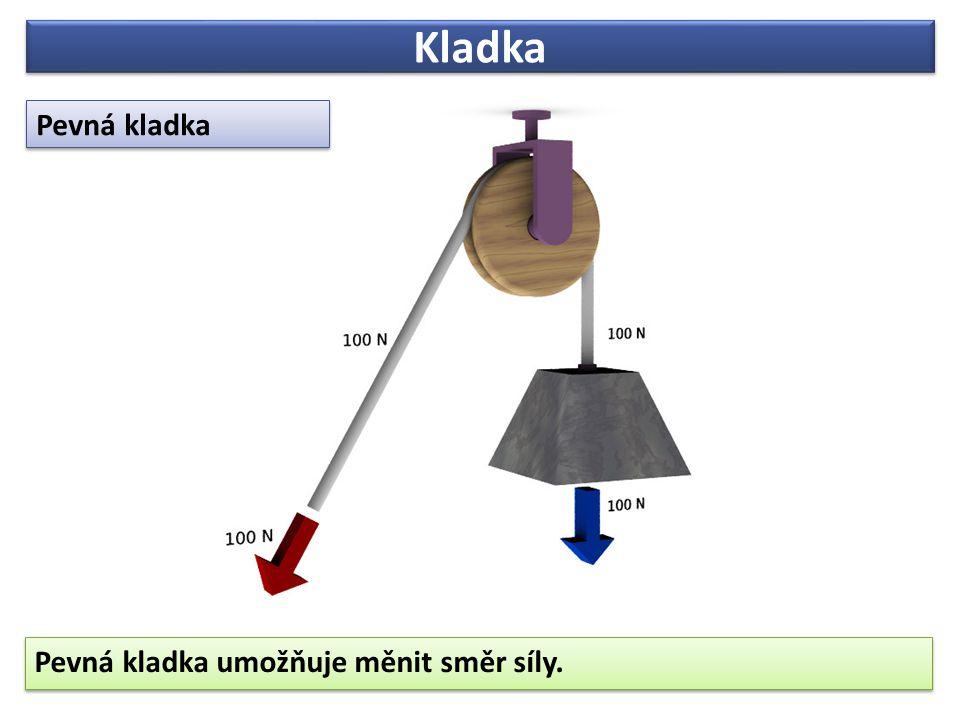Kladka Pevná kladka Pevná kladka umožňuje měnit směr síly.