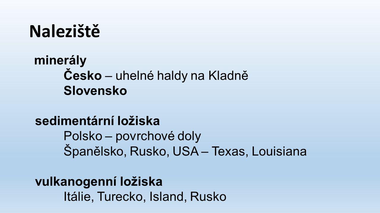 Naleziště Česko – uhelné haldy na Kladně Slovensko