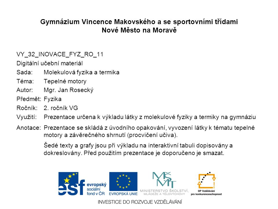 Gymnázium Vincence Makovského a se sportovními třídami Nové Město na Moravě