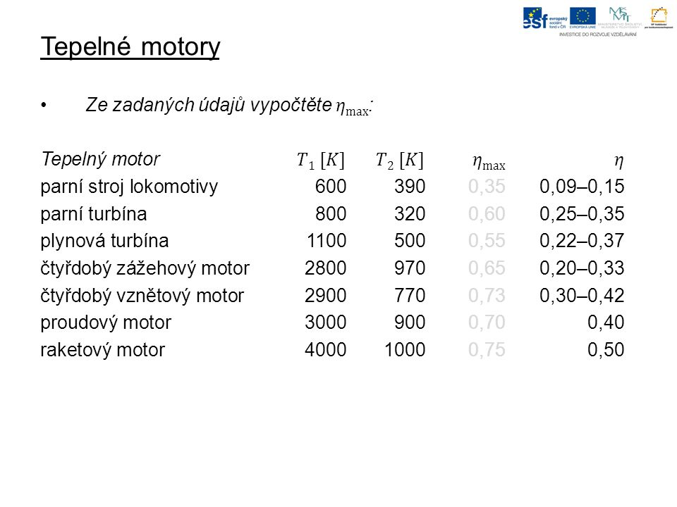 Tepelné motory Ze zadaných údajů vypočtěte 𝜂max: