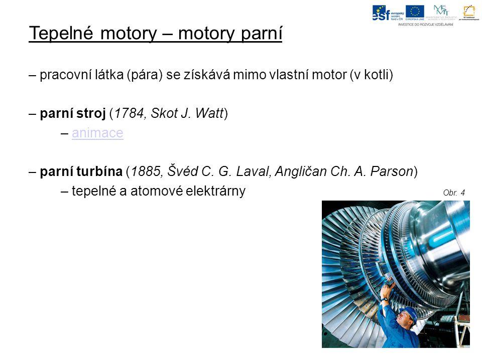 Tepelné motory – motory parní