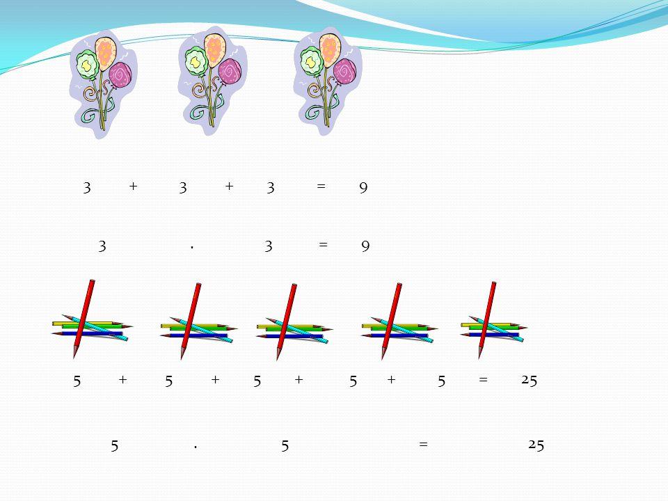 3 + 3 + 3 = 9 3 . 3 = 9.