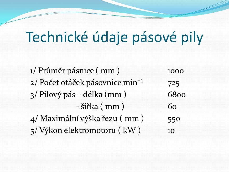 Technické údaje pásové pily