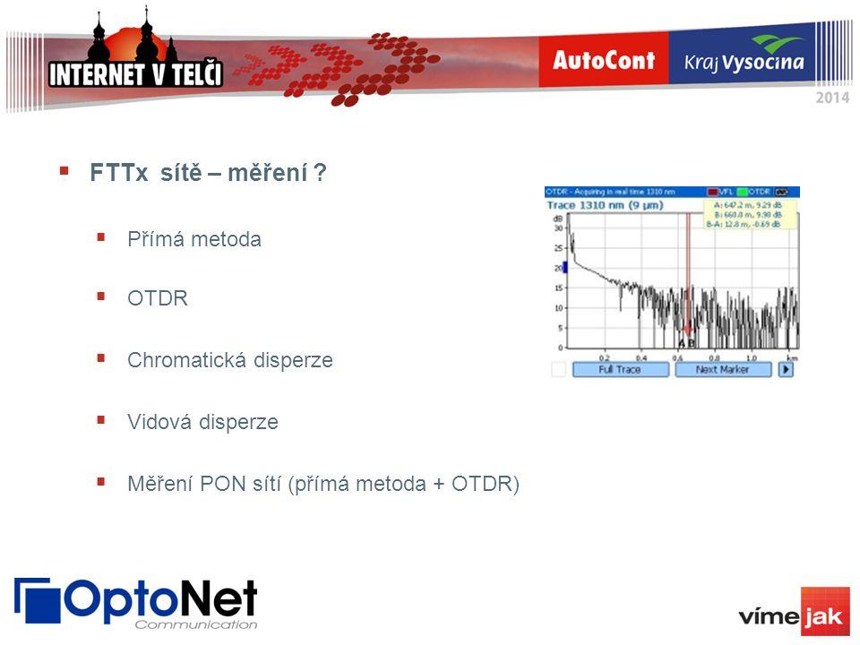 FTTx sítě – měření Přímá metoda OTDR Chromatická disperze