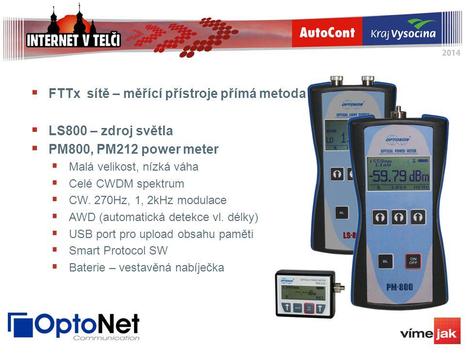 FTTx sítě – měřící přístroje přímá metoda LS800 – zdroj světla