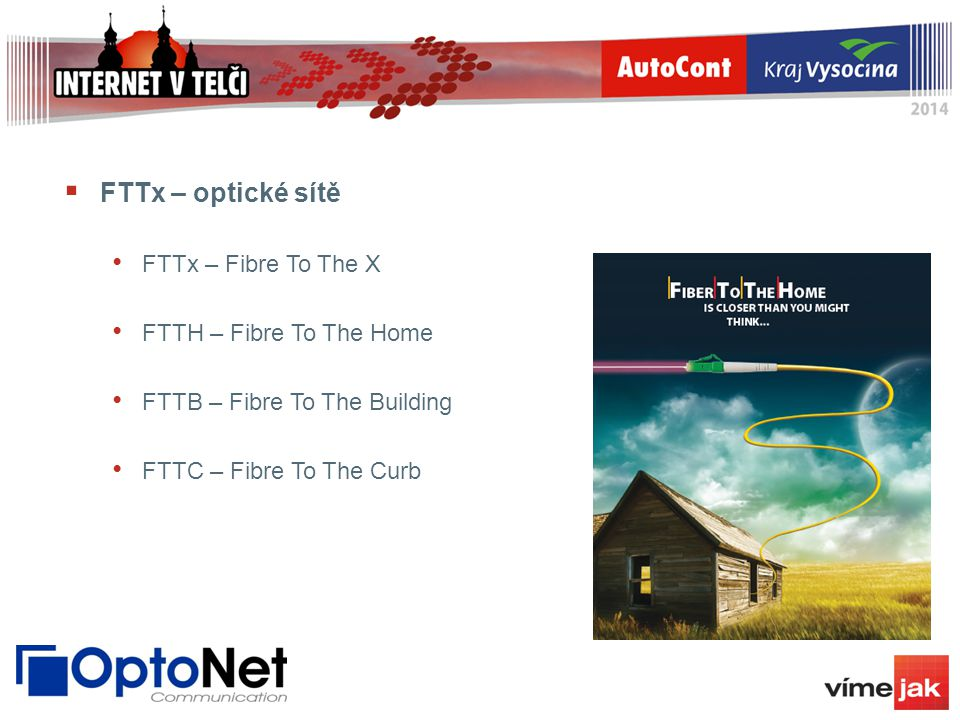 FTTx – optické sítě FTTx – Fibre To The X FTTH – Fibre To The Home