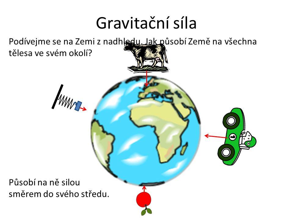 Gravitační síla Podívejme se na Zemi z nadhledu. Jak působí Země na všechna tělesa ve svém okolí.
