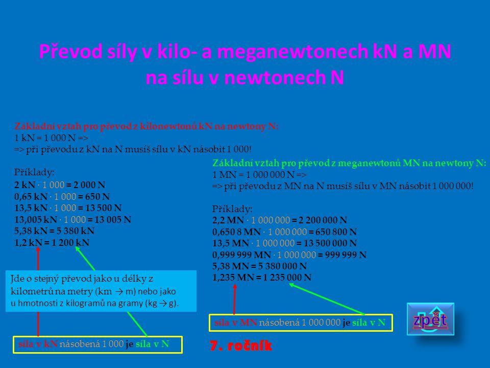 Převod síly v kilo- a meganewtonech kN a MN na sílu v newtonech N