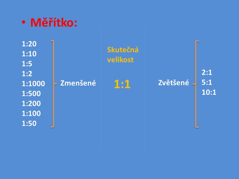 Měřítko: 1:1 1:20 1:10 Skutečná velikost 1:5 1:2 1:1000 1:500 2:1