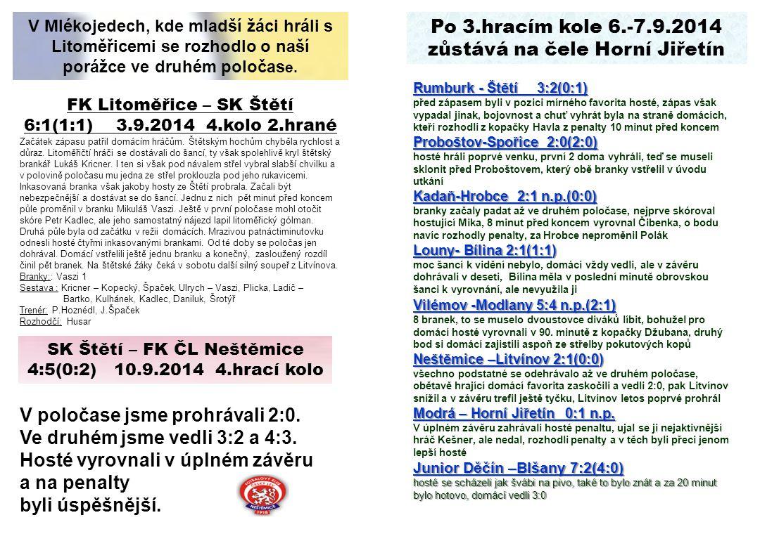 Po 3.hracím kole 6.-7.9.2014 zůstává na čele Horní Jiřetín