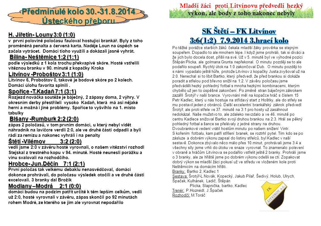 Předminulé kolo 30.-31.8.2014 Ústeckého přeboru