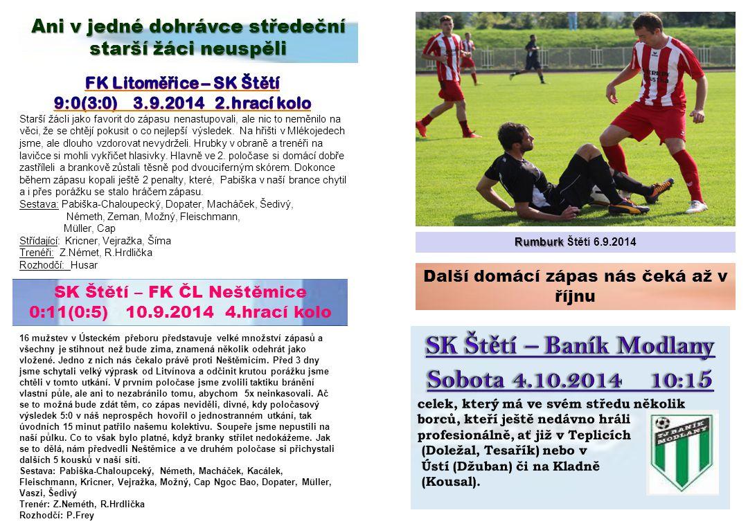 SK Štětí – Baník Modlany Sobota 4.10.2014 10:15
