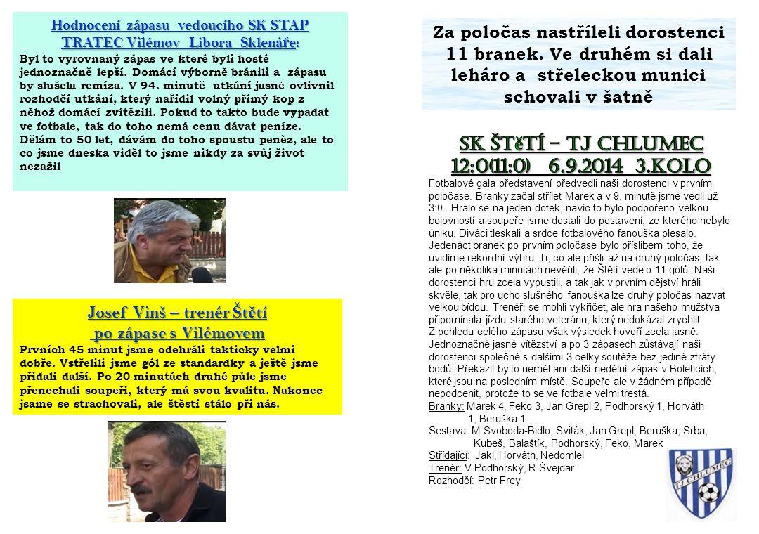 SK Štětí – TJ CHlumec 12:0(11:0) 6.9.2014 3.kolo