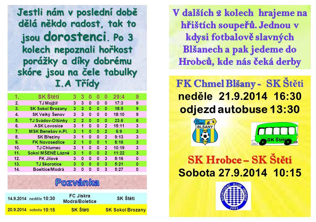 neděle 21.9.2014 16:30 odjezd autobuse 13:30