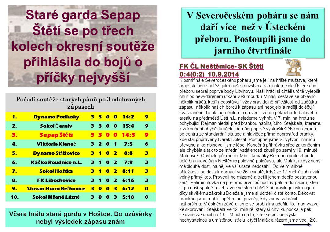 Staré garda Sepap Štětí se po třech kolech okresní soutěže přihlásila do bojů o příčky nejvyšší
