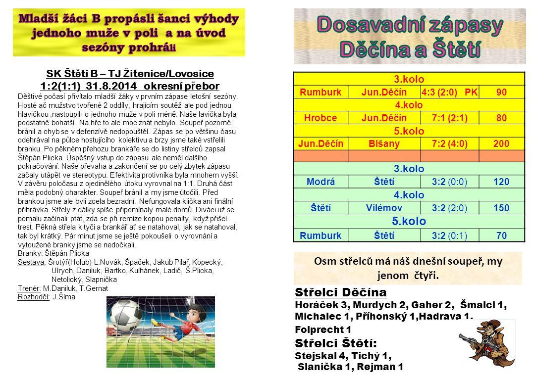 Dosavadní zápasy Děčína a Štětí