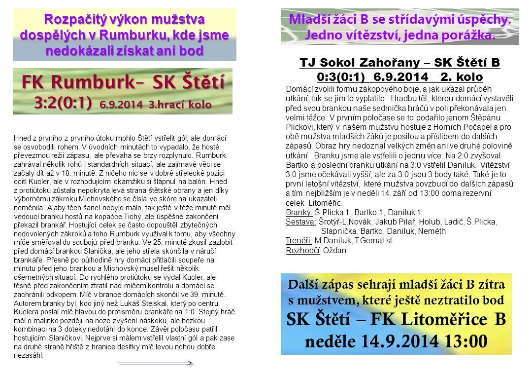SK Štětí – FK Litoměřice B neděle 14.9.2014 13:00