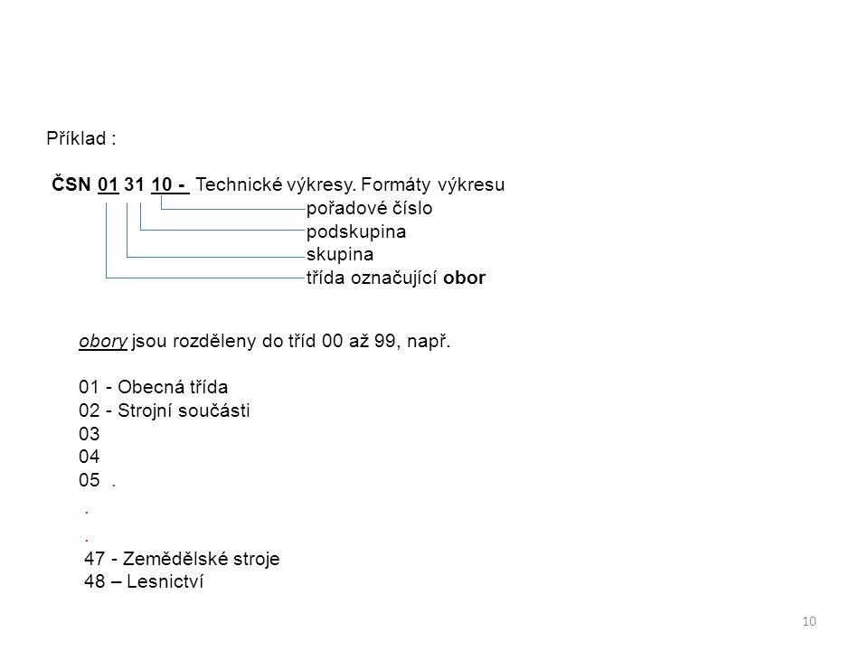 Příklad : ČSN 01 31 10 - Technické výkresy