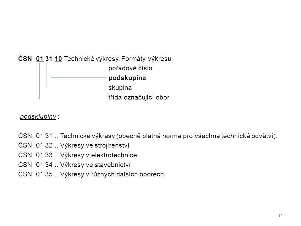ČSN 01 31 10 Technické výkresy.
