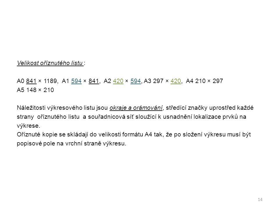 Velikost oříznutého listu : A0 841 × 1189, A1 594 × 841, A2 420 × 594, A3 297 × 420, A4 210 × 297 A5 148 × 210 Náležitosti výkresového listu jsou okraje a orámování, středící značky uprostřed každé strany oříznutého listu a souřadnicová síť sloužící k usnadnění lokalizace prvků na výkrese.