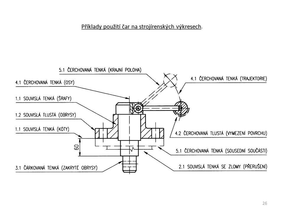 Příklady použití čar na strojírenských výkresech.