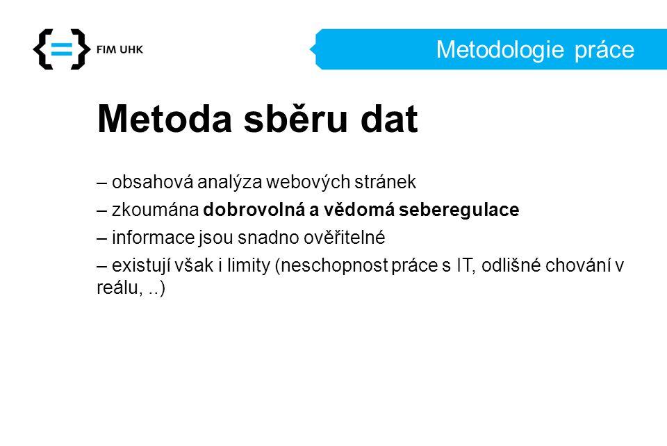 Metoda sběru dat Metodologie práce – obsahová analýza webových stránek