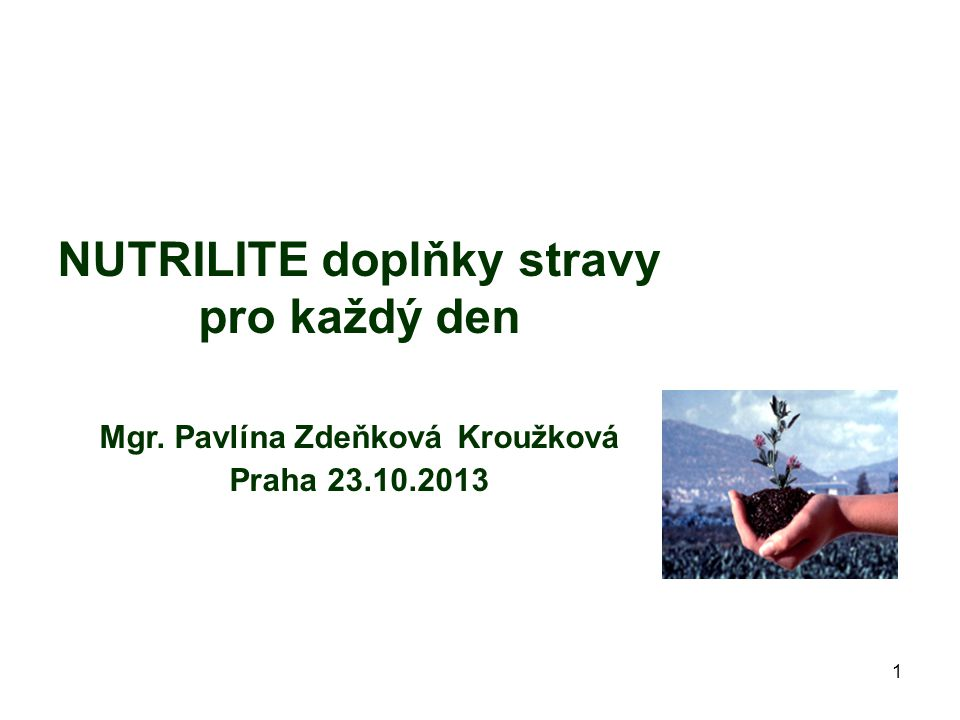NUTRILITE doplňky stravy pro každý den Mgr. Pavlína Zdeňková Kroužková