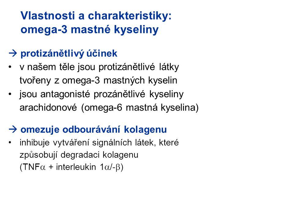 Vlastnosti a charakteristiky: omega-3 mastné kyseliny