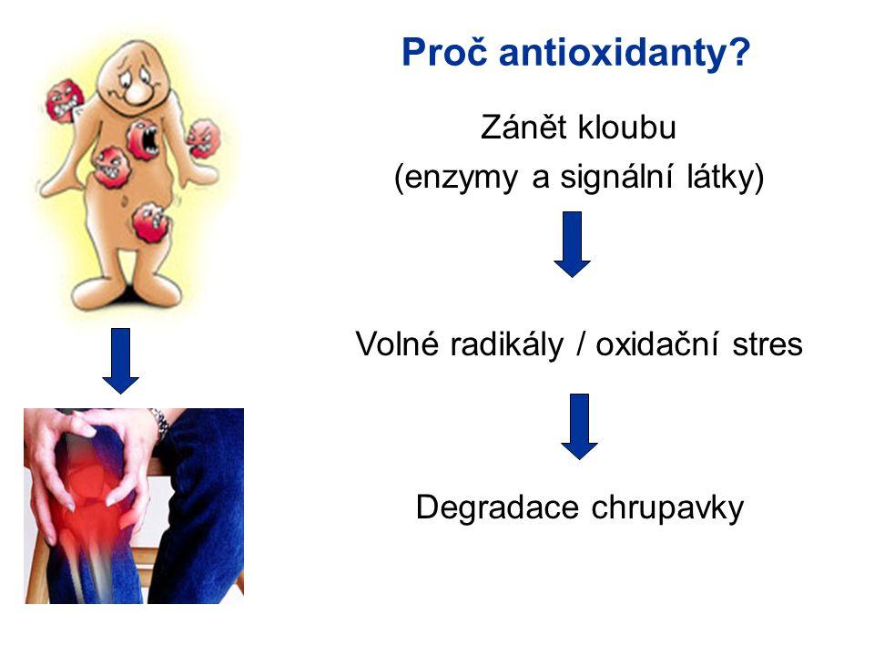 Proč antioxidanty Zánět kloubu (enzymy a signální látky)